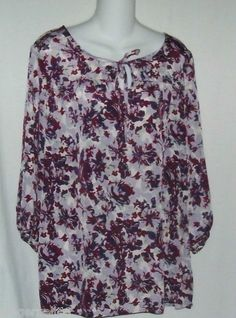 White Stag Purple Print Top Size Medium New with Tag free shipping $9.55