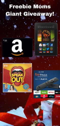 Our friends at, Freebie Moms, are giving away one of the 3 Speak Out Games, 10 $10 Amazon Gift Cards, 3 Fire Sticks, or 1 Fire Tablets! http://swee.ps/kkYQYwSw