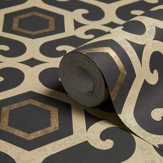 Boutique Amber Black Geometric Metallic Wallpaper   Departments   DIY at B&Q Metallic Wallpaper, Wallpaper Decor, Bathroom Wallpaper, Textured Wallpaper, Pattern Wallpaper, Art Deco, Farm Cottage, Good Old, Illustrations Posters