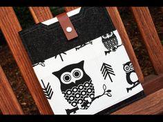 Ipad case - charcoal wool felt sleeve and owl fabric pockets