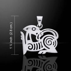Scandinavian Viking Animal Art in Osberg Style - Norse Knotwork Animal Pendant .925 Sterling Silver Meticulously crafted from fine sterling silver, the Silver Animal Art Viking Pendant showcases the u