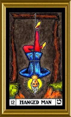 """Finished coloring card # The Hanged Man, tonight. Interesting in that he pictured a reversal of viewing things. Things are not what they appear to be, and he begins to observe the esoteric meaning of what others would view as """"ordinary"""". Divination Cards, Tarot Cards, The Hanged Man, Online Tarot, Oracle Cards, Tarot Decks, Color Card, Mystic, Tatting"""