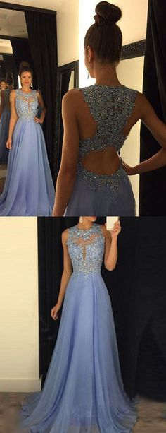 Prom Dresses 2017 V-Neck Appliques Beaded Prom Dresses Long A-line ...
