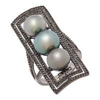 Roz Kwan Jewellery Collection Sterling Silver 9-11 mm Black Tahitian Pearl & Black Spinel Ring