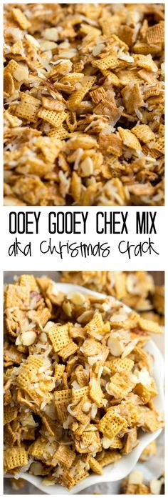 Gooey Chex Mix Ooey Gooey Chex Mix aka Christmas crack is so amazing and addicting and the perfect treat for the Holidays!Ooey Gooey Chex Mix aka Christmas crack is so amazing and addicting and the perfect treat for the Holidays! Snack Mix Recipes, Yummy Snacks, Yummy Food, Snack Mixes, Chex Recipes, Potato Recipes, Pasta Recipes, Crockpot Recipes, Soup Recipes