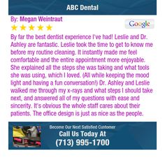 By far the best dentist experience I've had! Leslie and Dr. Ashley are fantastic. Leslie...