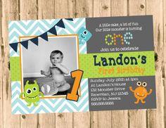 Little Monster Birthday Party Chevron Invitation- Printable