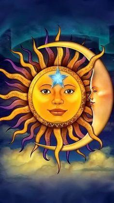 Sun Moon Stars, Sun And Stars, Mandala Art, Sun Art, Art Drawings For Kids, Beautiful Moon, Hippie Art, Rock Art, Fantasy Art