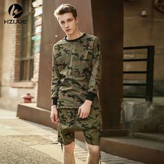 HZIJUE 2017 Kanye style brand clothing mens swag street top tees tyga camo camouflage t shirt  tshirt hip hop hiphop crewneck