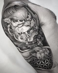 Chinese guardian lion, black and grey tattoo. Elements of geometry & the flower of life for balance. Half Sleeve Tattoos Black, Black Ink Tattoos, Black And Grey Tattoos, Ink Instagram, Fu Dog, Grey Scale, Flower Of Life, Big Tattoo, Flower Tattoos