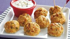 Progresso® plain bread crumbs provide a simple addition to these hot chicken meatballs – perfect for appetizer. Gourmet Appetizers, Chicken Appetizers, Best Appetizers, Appetizer Recipes, Delicious Appetizers, Dip Recipes, Yummy Recipes, Chicken Meatball Recipes, Buffalo Chicken Meatballs