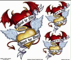 Angel and devil hearts Angel Devil Tattoo, Angel And Devil, Movie Tattoos, Body Art Tattoos, Sugar Skull Wallpaper, Old English Tattoo, Queen Tattoo, Tattoo Design Drawings, Tattoo Designs