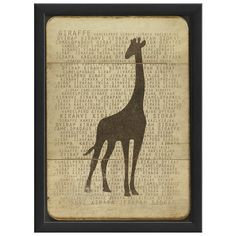 Equally at home in an artful collage or on its own as an eye-catching focal point, this bold framed print features a giraffe silhouette on a text background....