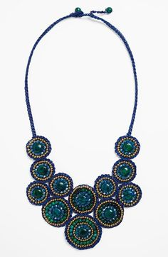 Free shipping and returns on Panacea Circle Bib Necklace at Nordstrom.com. Stacked circles inset with mixed beads and polished howlite and quartz stones define a handmade waxed-rope necklace.