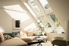 What is the VELUX potential? It's when you look at that dark attic or dull extension and can see a space filled with light and full of life. VELUX roof windows can bring twice as much daylight to every project, big or small. Realise the VELUX potential in Loft Spaces, Living Spaces, Roof Window, Attic Rooms, Interior Decorating, Interior Design, Home And Deco, Decoration, Home And Living