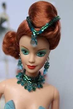 OOAK Neptune Barbie. Check out the beaded jewelry! Delicas are perfect for Barbie.