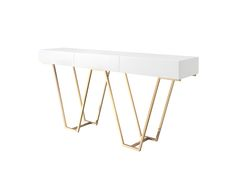 Laskasas | Zurique Console Table | Elegant Console with 3 drawers white lacquered and guilded stainless steel legs. www.laskasas.com