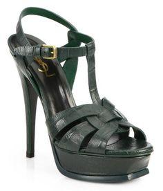 Crocodile Effect Tribute Sandals-Dark Green