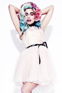 super super, blu hair, teal hair, london, editorial, flower crown, white dress, audrey kitching