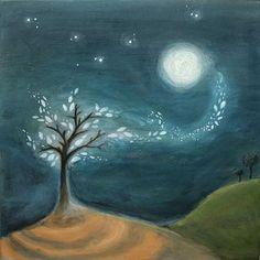 Moon Ash - Original acrylic painting on wood
