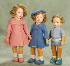 English cloth portrait dolls of Princess' Elizabeth and Margaret Rose ... by Chad Valley Dolls