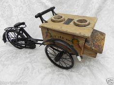 Vintage ICE Cream Vendor Cart Wood AND Metal Bicycle TOY Collectible Bike | eBay