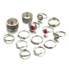 14pcs/Set Vintage Moon and Sun Set #ring #accessories #jewelry