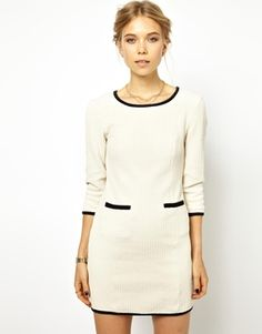 Ganni Textured Dress with Contrast Trim