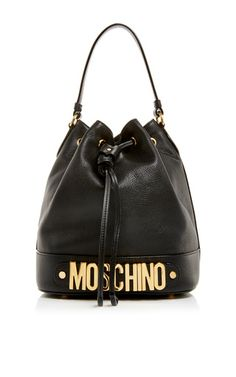 Black Leather Classic Logo Bucket Bag by Moschino Now Available on Moda Operandi