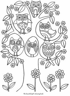 Owl tree line drawing Owl Coloring Pages, Doodle Coloring, Printable Coloring, Coloring Pages For Kids, Coloring Sheets, Coloring Books, Doodle Art, Embroidery Patterns, Cross Stitch