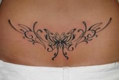 Modèle tatouage papillon tribal bas du dos #tattoo #back #tattoo