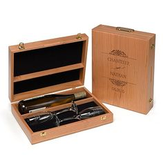 Wine Ceremony Wooden Box - Personalized - Make a romantic time capsule to open on your first anniversary! This personalized wine ceremony box includes engraved flutes. Add a special bottle of wine and seal! #wedding #weddinganniversary