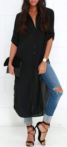 We'd jump through hoops for the Tall Timber Black Button-Up Maxi Top, but luckily, it got sent straight to our doorstep! Long, sweeping hemline with high side slits. Juniors Clothing Online, Look Fashion, Womens Fashion, Fashion Trends, Kurti With Jeans, Black Kurti, Maxi Shirts, Casual Outfits, Casual Wear