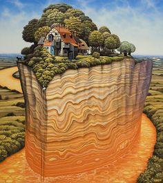 Jacek Yerka is a Polish painter of fantasy world and landscapes.