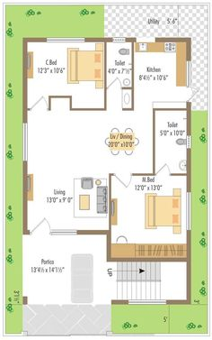 Home Plan By Awesome West Facing Small House Plan 2bhk House Plan, Model House Plan, House Layout Plans, Duplex House Plans, Dream House Plans, Small House Plans, House Layouts, House Floor Plans, 10 Marla House Plan