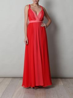 Halston Heritage - Red Full Length Dress -$781.00