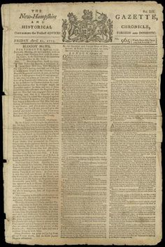 The New-Hampshire Gazette's account of the Battle of Lexington and Concord.