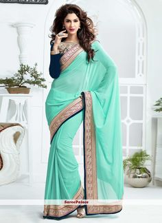 Turquoise Georgette And Jacquard Half And Half Saree