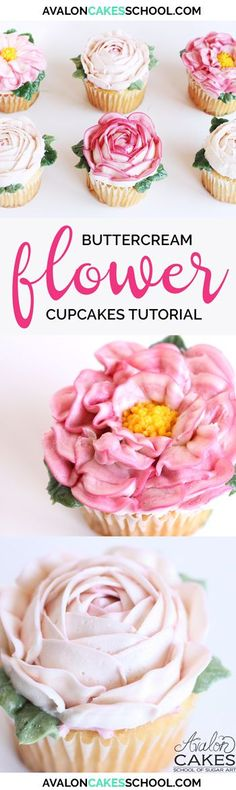 """Buttercream flower cupcakes! Tips and tricks to making quick and easy buttercream flowers for cakes or cupcakes. Video and recipe! <a href=""""http://www.avaloncakesschool.com"""" rel=""""nofollow"""" target=""""_blank"""">www.avaloncakessc...</a>"""