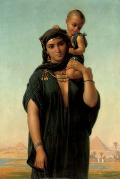 Mother and Child before the Pyramids. Oil on Canvas. 1872. Charles Emile Hippolyte Lecomte-Vernet (French, 1821-1900). Private Collection.