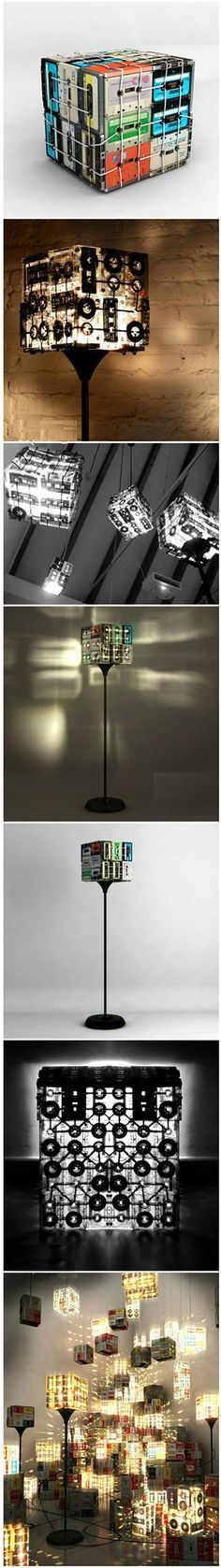 Homemade lamps from music cassettes- Selbstgemacht Lampen aus Musikkassetten Homemade lamps from music cassettes - Craft Tutorials, Diy Projects, Craft Ideas, Diy Ideas, Lampe Retro, Ideias Diy, Diy Recycle, Diy Furniture, Diy And Crafts