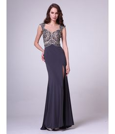 Charcoal Sequin Bodice Cap Sleeve (without slit!)