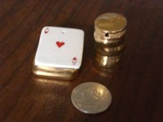 Miniature Arcadia Ace of Hearts and Stack of Gold Coins Salt Pepper Shakers