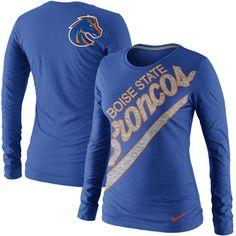 Nike Boise State Broncos Women's Angled Script Long Sleeve Tri-Blend T-Shirt - Royal Blue