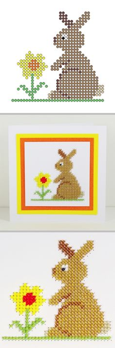 Free crafts to download and print Easter Bunny and Daffodil beading on card, counted beadwork and counted cross stitch patterns.
