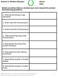 Free Graphic Organizer Venn Diagram For Research Paper On Olympics