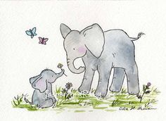 Elephant Nursery Art Print by Jasper and Ruby - contemporary - nursery decor - Etsy