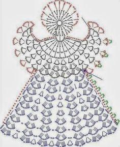Tricô e Crochê - Knitting and Crochet: Enfeite de Natal em Crochet - Anjo Natalino Filet Crochet, Crochet Diagram, Crochet Chart, Thread Crochet, Crochet Motif, Crochet Flowers, Knit Crochet, Crochet Fabric, Crochet Christmas Ornaments