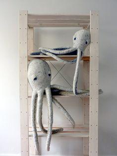 BIG Albino Octopus Handmade Plush toy Stuffed by BigStuffed