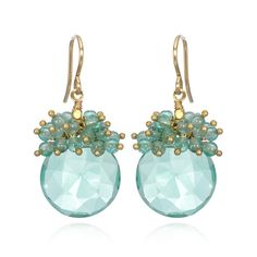 Faceted Aquamarine Cluster Earrings - Artisan Design Gallery